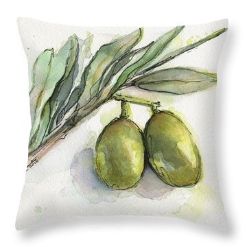 Green Olives On A Branch  Throw Pillow