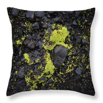 Green On Black On Iceland's Fimmvorduhals Trail Throw Pillow