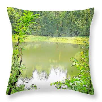 Green On Lake Throw Pillow by Craig Walters