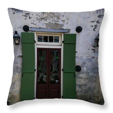 Green On Stucco Throw Pillow
