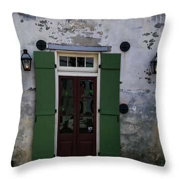 Green On Stucco Throw Pillow