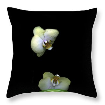 Green Orchids Throw Pillow by Christian Slanec