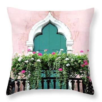 Throw Pillow featuring the photograph Green Ornate Door With Geraniums by Donna Corless