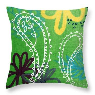 Green Paisley Garden Throw Pillow