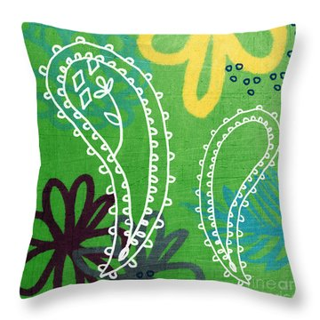 Green Paisley Garden Throw Pillow by Linda Woods