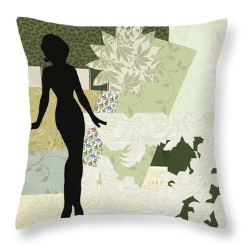 Green Paper Doll Throw Pillow