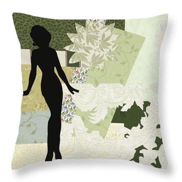 Green Paper Doll Throw Pillow