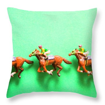 Green Paper Racecourse Throw Pillow