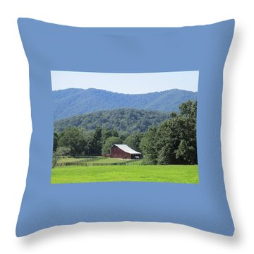 Mountain Barn Retreat Throw Pillow