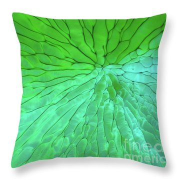 Green Pattern Under The Microscope Throw Pillow
