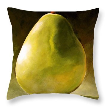 Green Pear Throw Pillow by Toni Grote