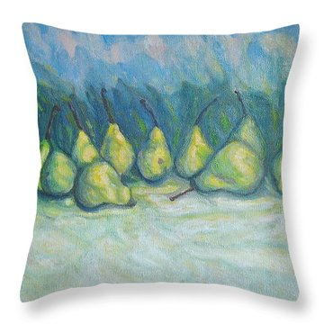 Green Pears Throw Pillow