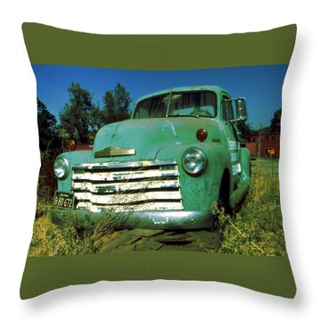 Green Pickup Truck 1959 Throw Pillow