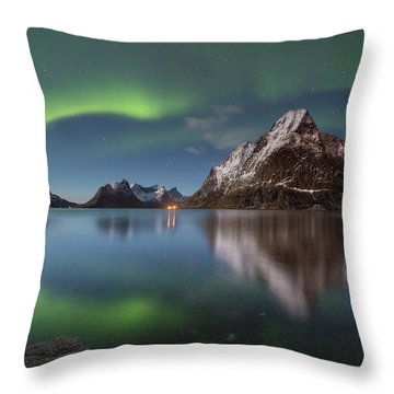 Green Reflection Throw Pillow