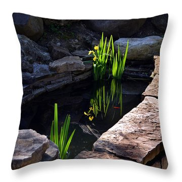 Green Reflections Throw Pillow by Kathleen Stephens
