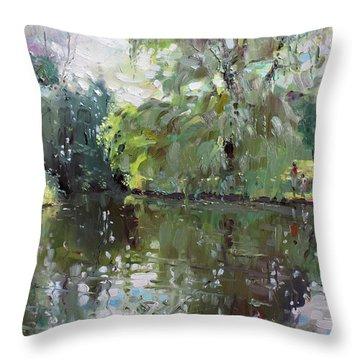 Green Reflections  Throw Pillow