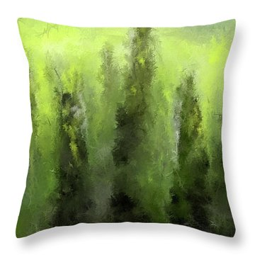 Throw Pillow featuring the painting Green Revive- Pantone 2017 Color Of The Year by Lourry Legarde