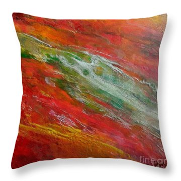 Throw Pillow featuring the painting Green River by Dragica  Micki Fortuna