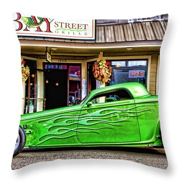 Green Roadster Throw Pillow