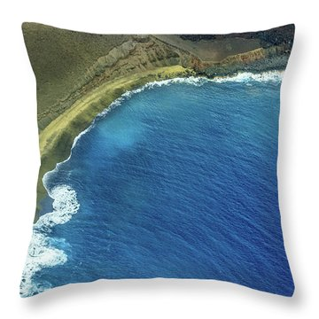 Green Sand Beach Aerial Throw Pillow