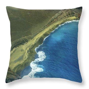 Green Sand Beach Aerial Throw Pillow