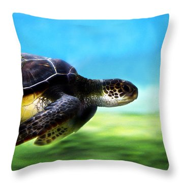 Green Sea Turtle 2 Throw Pillow by Marilyn Hunt