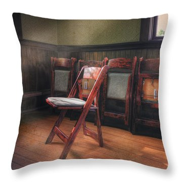 Throw Pillow featuring the photograph Green Seat Chair # 2 by Craig J Satterlee