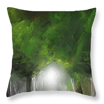 Throw Pillow featuring the painting Green Serenity - Green Abstract Art by Lourry Legarde