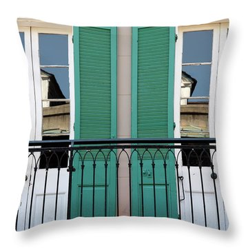 Throw Pillow featuring the photograph Green Shutters Reflections by KG Thienemann