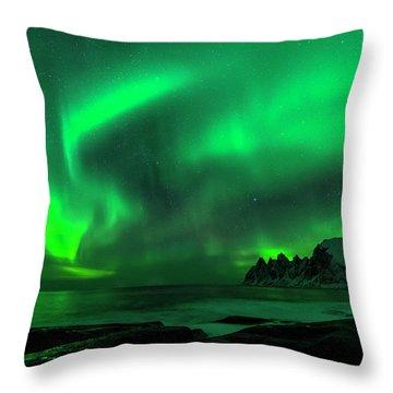 Green Skies At Night Throw Pillow