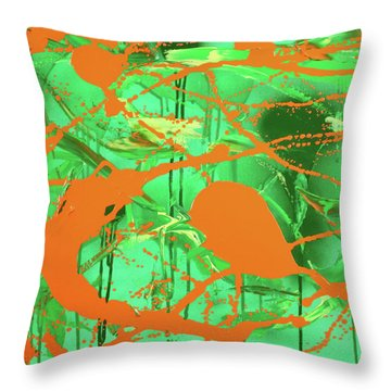 Green Spill Throw Pillow