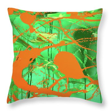 Green Spill Throw Pillow by Thomas Blood