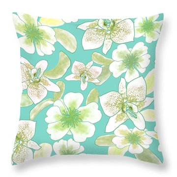 Green Spotted Orchids On Turquoise Throw Pillow