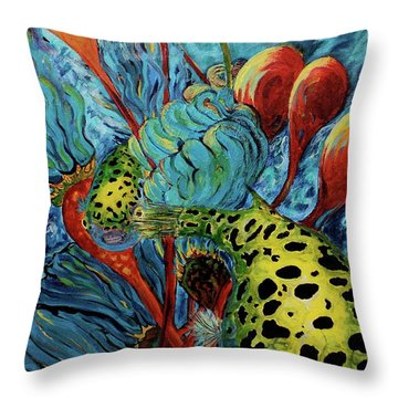Green Spotted Puffer Throw Pillow