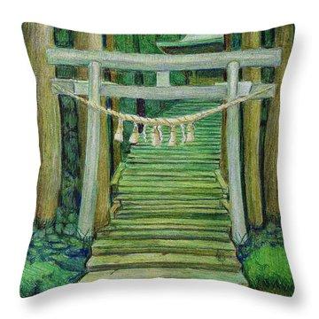 Green Stairway Throw Pillow
