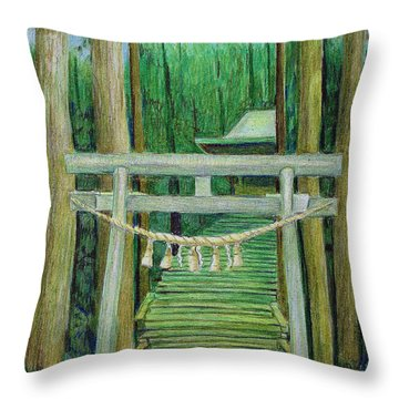 Green Stairway Throw Pillow