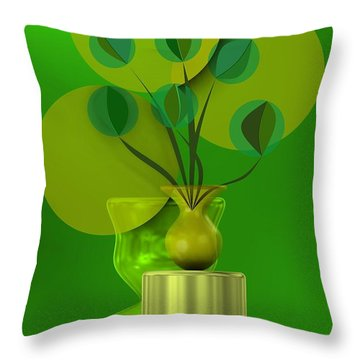 Green Still Life With Abstract Flowers, Throw Pillow