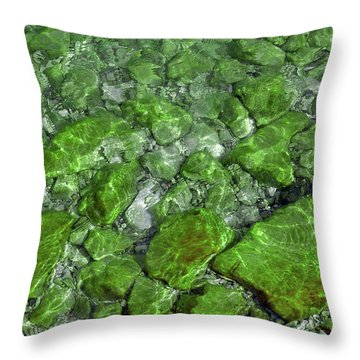 Throw Pillow featuring the photograph Green Stone Waters by LeeAnn McLaneGoetz McLaneGoetzStudioLLCcom