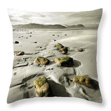 Green Stones On A North Wales Beach Throw Pillow by Mal Bray