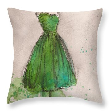 Green Strapless Dress Throw Pillow by Lauren Maurer