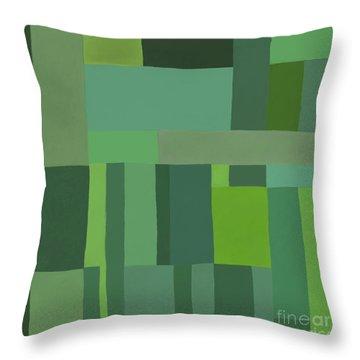 Throw Pillow featuring the digital art Green Stripes 2 by Elena Nosyreva