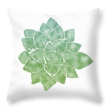 Throw Pillow featuring the mixed media Green Succulent 1- Art By Linda Woods by Linda Woods