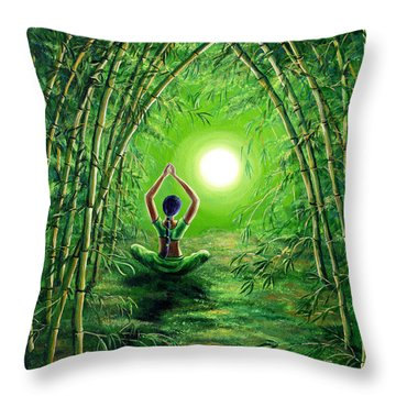 Green Tara In The Hall Of Bamboo Throw Pillow