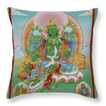Green Tara With Retinue Throw Pillow