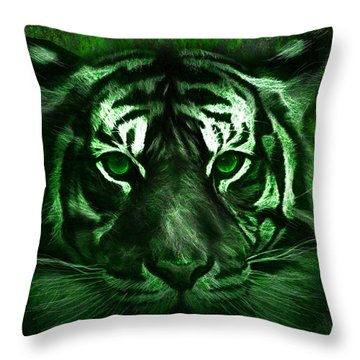 Green Tiger Throw Pillow by Michael Cleere