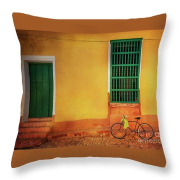 Throw Pillow featuring the photograph Green Towel Bicycle by Craig J Satterlee