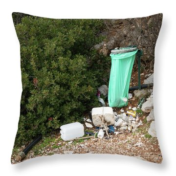 Green Trash Bag And Rubbish In Croatia Throw Pillow