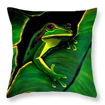 Green Tree Frog And Leaf Throw Pillow by Nick Gustafson