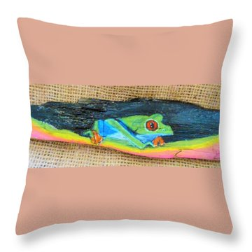 Green Tree Frog Throw Pillow by Ann Michelle Swadener
