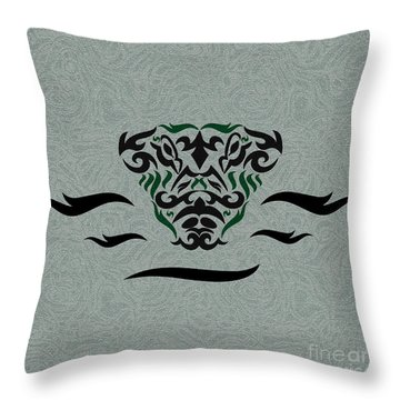 Green Tribal Gator Throw Pillow by Megan Dirsa-DuBois